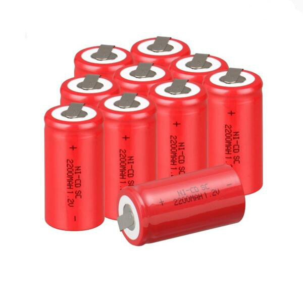 SUB C battery rechargeable battery 1.2v 2200mah battery 4.25*2.2 with tab NI-CD 2200mah 1.2V SC battery(1 pc)