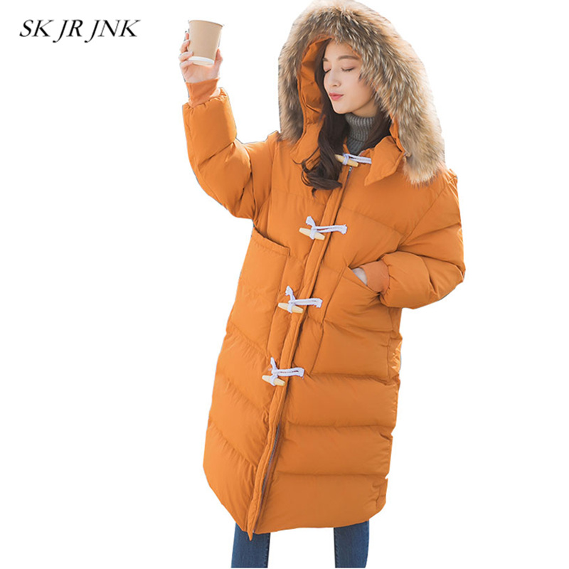 Loose Warm Fur Collar Hooded Padded Jackets 2017 New Winter Women Fashion Casual Parkas Plus Size Long Coat Wadded Jacket LAL23 vogue anmi brand clothing men s casual parkas long style loose fit fur hooded jacker winter jacket men padded army size m xxl