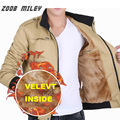 ZOOB MILEY Winter Men Jackets Long Sleeve Thick Fleece Inside Causal Warm Coats Plus Size M-3XL Fashion Outerwear