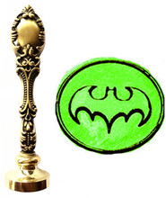 Vintage Batman Bat Custom Picture Logo Luxury Wax Seal Sealing Stamp Brass Peacock Metal Handle Gift Set