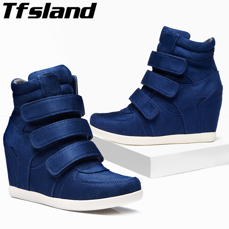 Tfsland New Women Wedges HOOK LOOP Shoes Breathable Height Increasing Ankle Boots Soft Sole Sneakers Zapatos Skateboarding Shoes стоимость