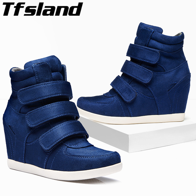 6551e872c8a2 Tfsland New Women Wedges HOOK LOOP Shoes Breathable Height Increasing Ankle  Boots Soft Sole Sneakers Zapatos