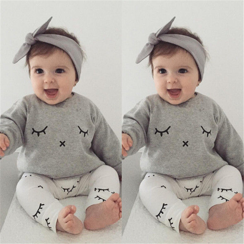 Baby Fall Clothes | Baby Boy Eyelash Clothes Fall 2017 Bebes Kids Newborn Casual Long Sleeve T Shirt Tops+Long Pants Outfits Baby Girl Clothing Sets