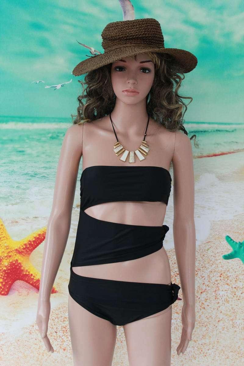 Womens Bandeau Monokini Sexy One Piece Cut Out Monokini Padded Monokini Swimsuit for Lady