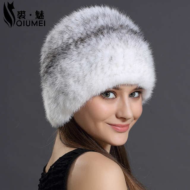 QiuMei Women's Winter Hat Natural Mink Fur Female Casual Cap Hat Fur Headgear For Women Beanies Russian 100% Real Fur Beanie Hat