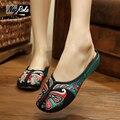 2016 тапочки домашние женские весна и лето мода пекинская опера вышивка домашние тапочки женщин свободного покроя женские туфли сандалии sandalias mujer босоножки женские