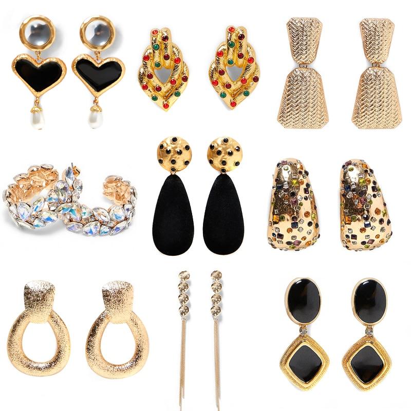 JUJIA ZA wholesale Statement metal earring Trendy Jewelry Elegant big geometric pendant Earrings For Women za mexed EARRINGS(China)