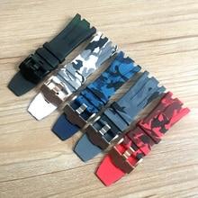 30mm Camo Schwarz Weiß Grau Blau Rot Grün Weichen Gummi Silikon Armband Uhr Strap Für AP AP26400 44mm fall Audemars Piguet