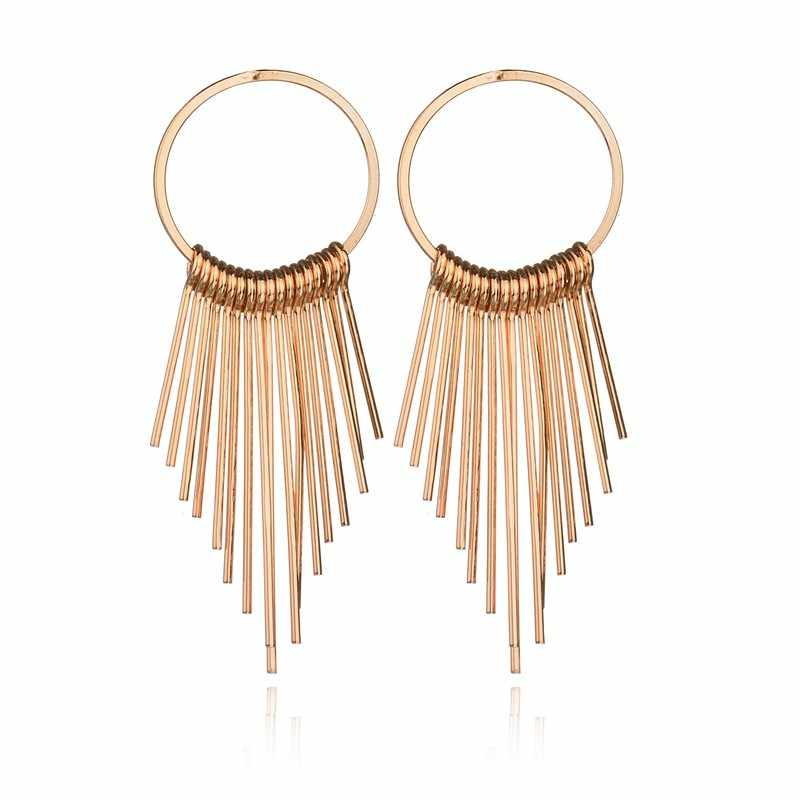 MissCyCy Fashion Gold Color Metal Tassels Drop Earrings For Women 2017 New Trendy Style Long Hanging Earrings Jewelry Gift