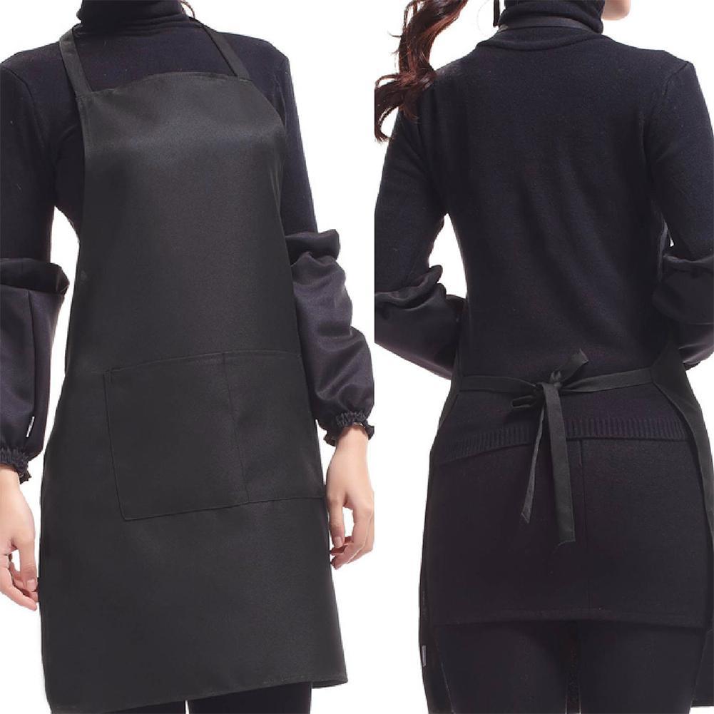 Black Color 63x70cm Polyester Classic Design Work Apron Kitchen Apron With Pocket Couples Apron