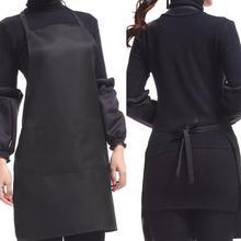 Черный цвет 63x70 см полиэстер Классический дизайн работы Фартук Кухонный Фартук с карманом фартук для пары