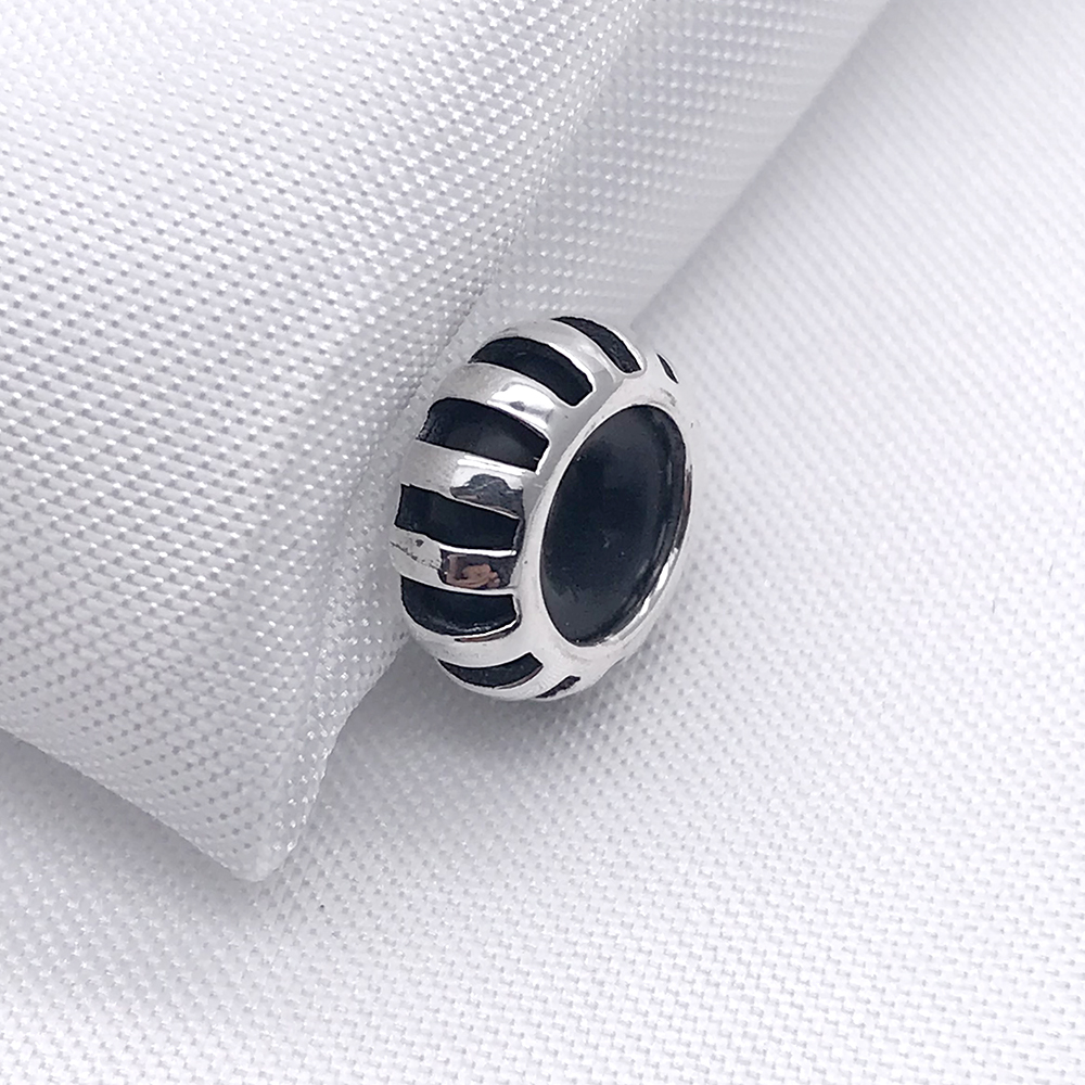 Genuine 925 Sterling Silver Sunbeam Spacer Stopper Charm Beads Fit European Troll 3 mm Bracelet Jewelry