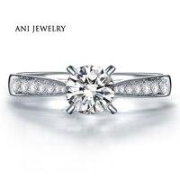 ANI 18 K Белое Золото (AU750) Женское Обручальное кольцо 0,79 КТ Сертифицированный I/SI Бриллиант круглой огранки группа 4 коготь дизайн Лакшери обруч
