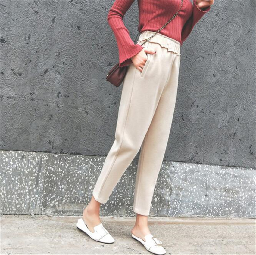 MLCRIYG Haren trousers female trousers autumn winter Korean Edition tide student small foot radish trousers