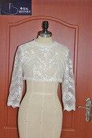 Jacket חתונת שנהב לבן 3/4 שרוול ארוך תחרת החתונה בולרו Mariage הקצר בולרו Custom Made
