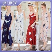 UNLIMON Women Faux Silk Sleepwear Sleevless Long Nightdress Vneck Pajamas