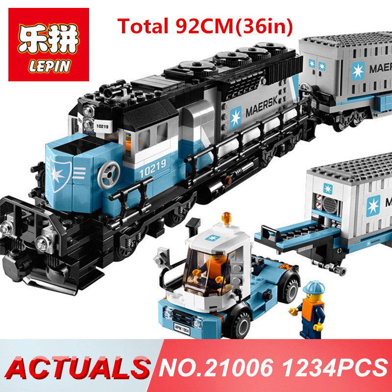 Lepin 21006 1234PCS Genuine Technic Ultimate Series The Maersk Train Model Building Blocks Bricks Educational toys legoing 10219 lepin 22002 1518pcs the maersk cargo container ship set educational building blocks bricks model toys compatible legoed 10241