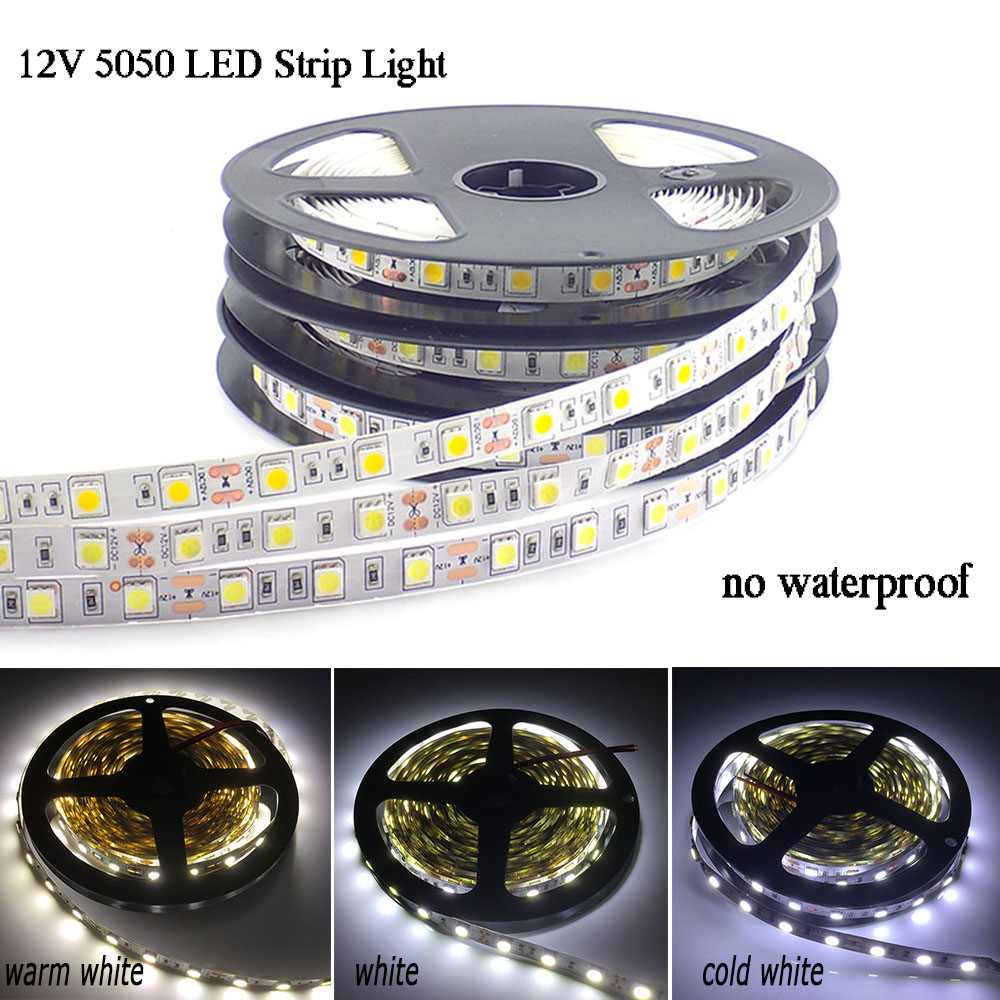 DC 12V SMD 5050 LED Strip Light no waterproof Flexible Led Tape Home Decoration Lighting Cold White/Warm White/Blue/Green/Red