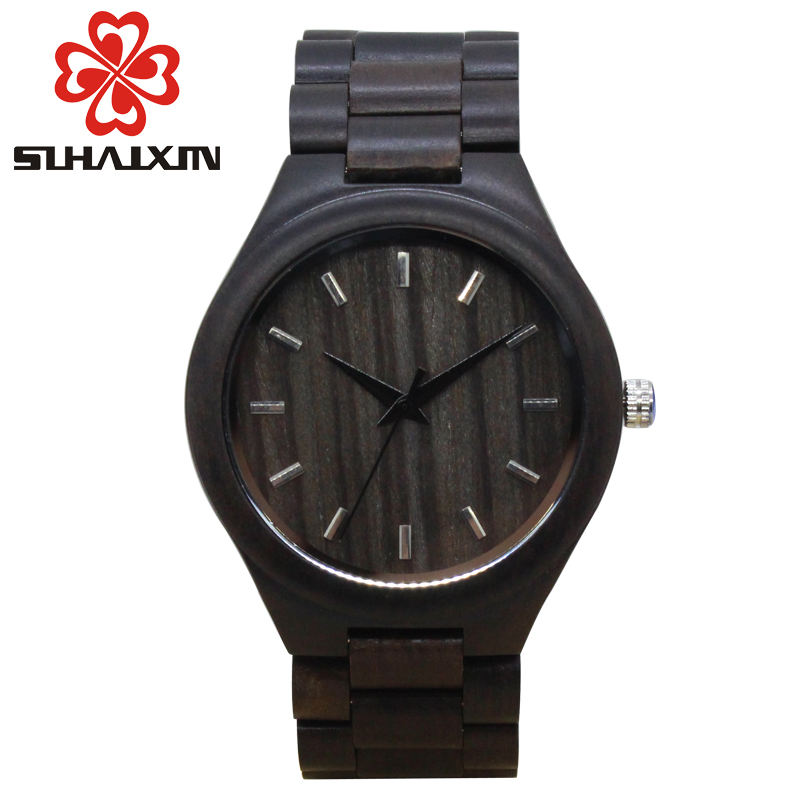 SIHAIXIN 2017 Wood Band Watches Men With Round Vintage Black Ebony Wooden Case Top  Brand Luxury Quartz Watch Unique Male Clock sihaixin wooden watch male timepiece simple black design men top brand wrist watches nature hand made bamboo quartz clock man de