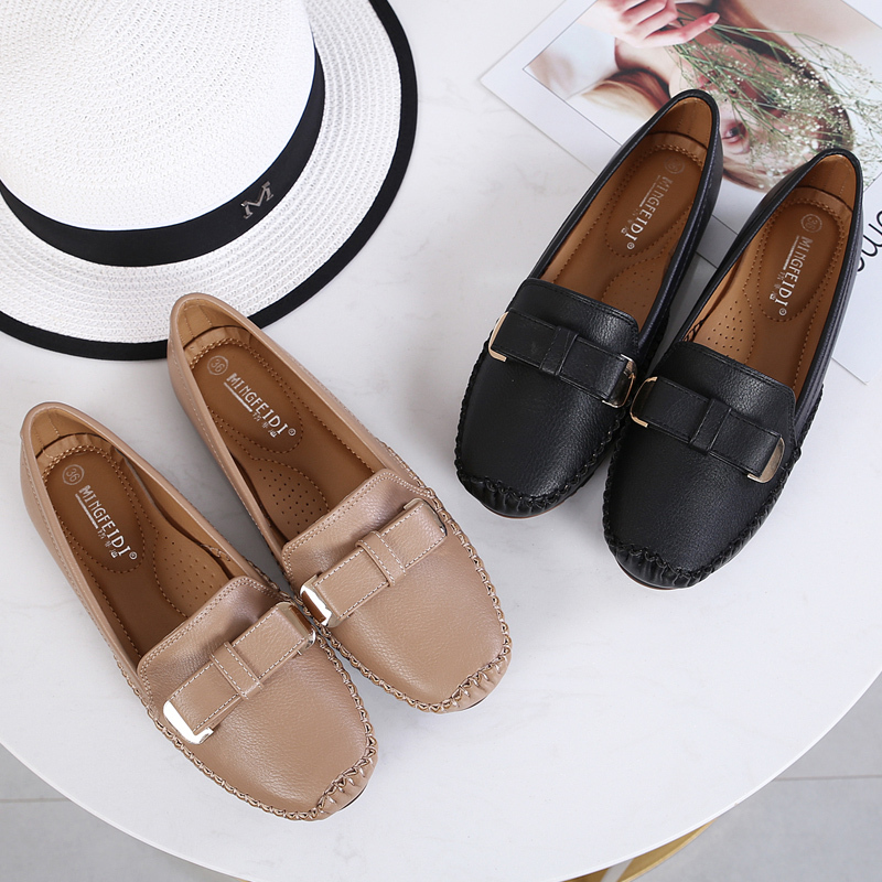 2019 Women   Leather   Ballet Classic Flats Soft Loafers Flats Plus Size 35-42 Female Mocassin Pregnant Sewing Shoes Zapatos YGH-40