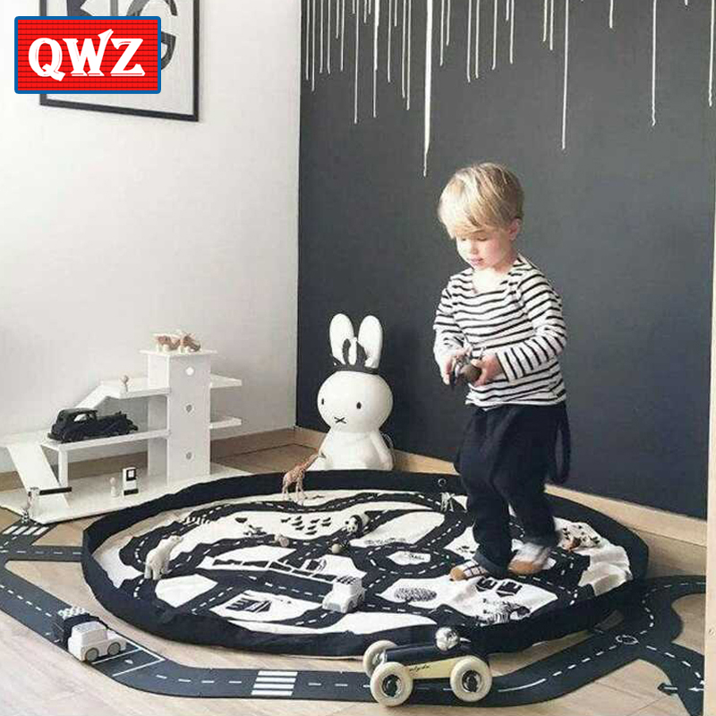 цена на QWZ 140cm Game Mats Baby Crawling Blanket Round Play Mat Chilren Play Rug Racing Games Carpet Infant Room Kids Toys Play Pouch