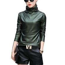 Плюс размер 4XL женщины блузка мода elegent Водолазка с длинным рукавом рубашки женские топы 2017 новая весна Кожа pu blusas femininas