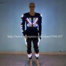 Лидер продаж красочные подсветкой Костюмы для бальных танцев костюм Одежда для танцев Светодиодное освещение робот Костюмы для событие для вечеринок