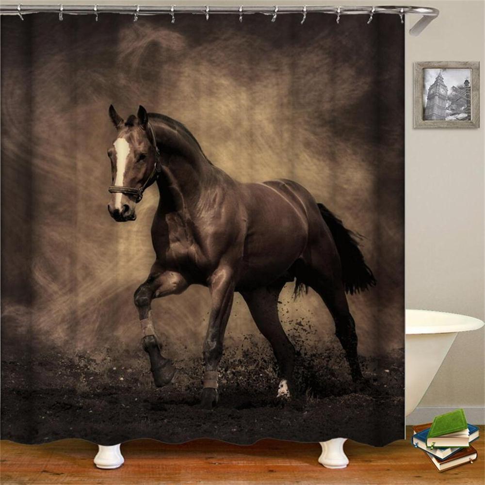 Retro West Cowboy Stiefel Hut Pferde Wasserdichte Stoff Polyester Dusche Vorhänge
