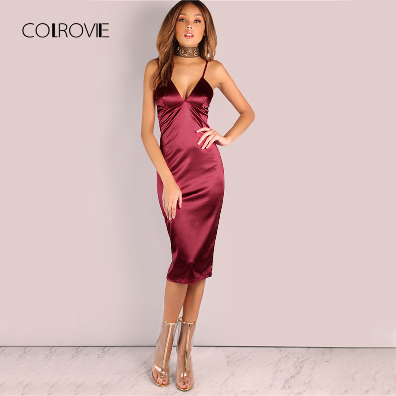 COLROVIE Burgund Satin Party Club Kleid 2017 Tiefe V Neck Frauen Sommer  Kleider Sexy Bodycon Strap e13e38dd86