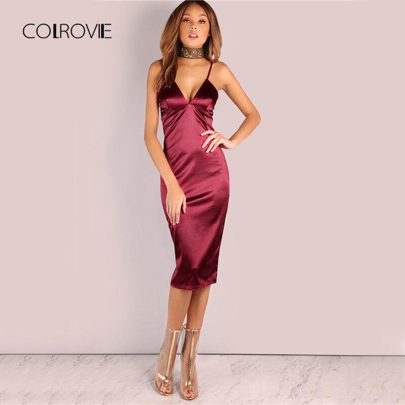 COLROVIE Borgoña satén vestido de fiesta en Club 2017 profundo cuello en V vestidos de verano para mujeres Sexy Bodycon Correa acanalada damas Midi vestido
