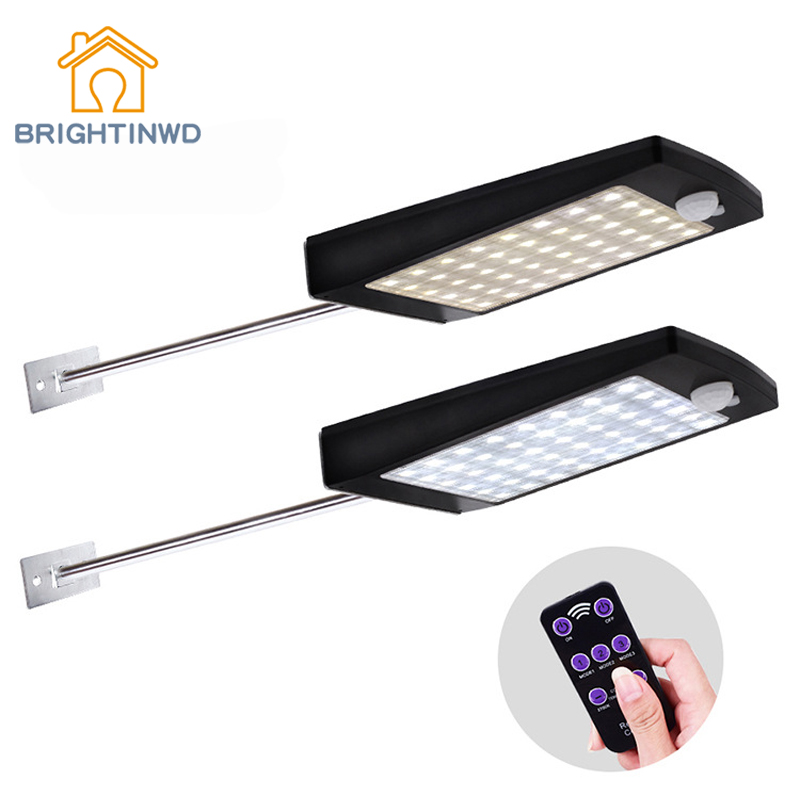 LED Solar Light Outdoor 48LED Motion Sensor Lights With Remote Control For Garden Street Wall Lamp Waterproof IP65 Lighting