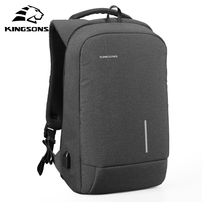 Kingsons 13 15 Inch Men Laptop Backpack External USB Charge Anti-theft Wearable Waterproof Backpacks Fashion Bags New Arrival kingsons 1517 laptop backpack external usb charge computer backpacks anti theft waterproof bags for men women2018new