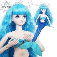 22 Mermaid Fish EVA BJD Full Set + Makeup + 1/3 SD Doll 56cm 19 jointed dolls Toy Model Human body Fishes Dress Gift for Girls