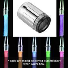 Дизайн 7 цветов цветной светодиодный rgb свет воды светящийся кран головка домашнее украшение ванной комнаты из нержавеющей стали водопроводный кран