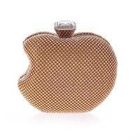 Apple Роскошные цвет серебристый, Золотой Кристалл Вечерние Клатчи Для женщин Сеть Кошелек Сумочка Свадебная вечеринка сумка