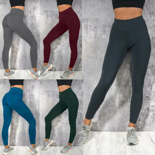 Women Casual High Waist Fitness   Leggings   Woman Solid Color Long Scrunch   Leggings   Ankle-Length 2019 New Arrivals