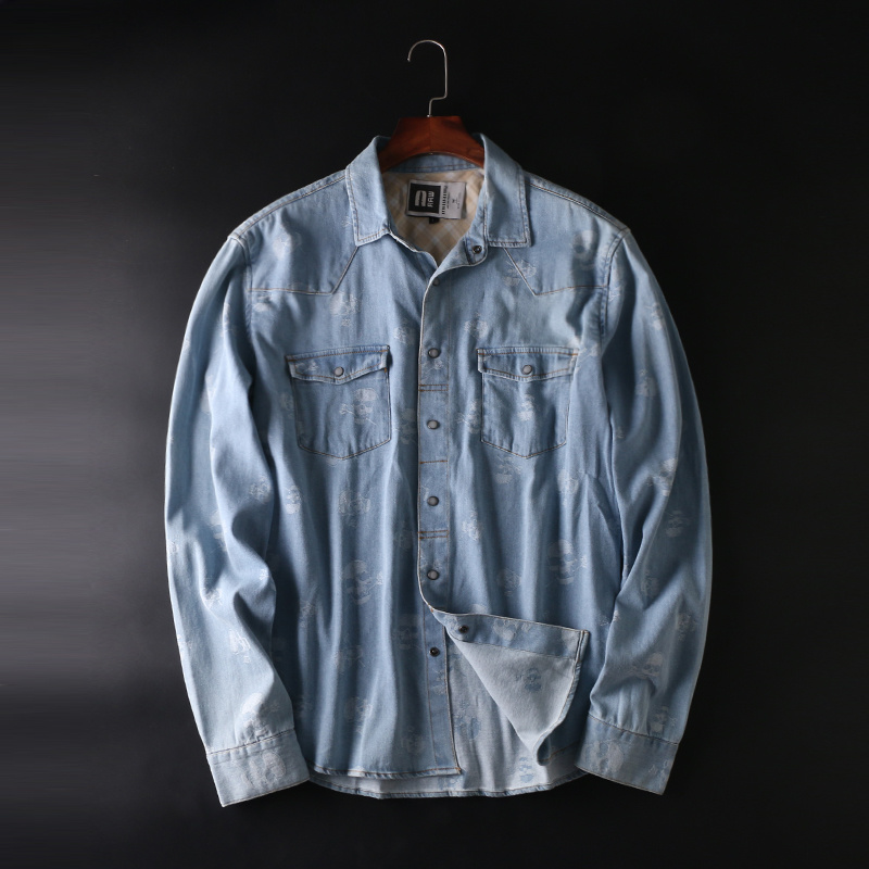 2018 new mens shirts casual skull print denim shirt men spring casual shirts oxford dress shirt camisa masculina size L-XXXL ...