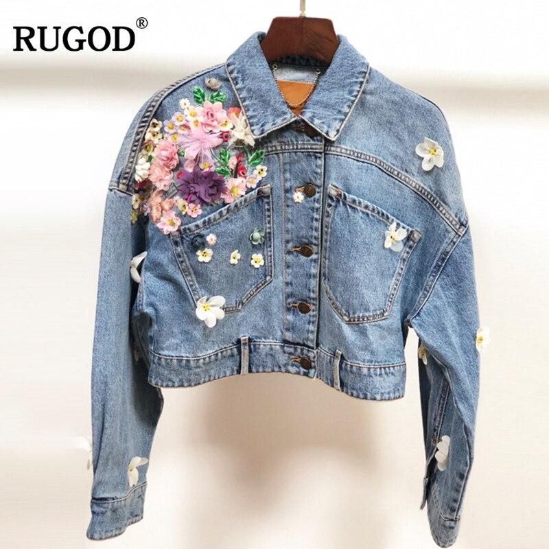 RUGOD 2018 New Fashion Handmade 3D Floral Embroidery Jeans Jacket Women Long Sleeve Pockets Short Bomber Jacket Women Denim Coat deep blue fashion long sleeves side pockets embroidery jacket