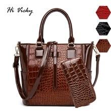 2Pcs Luxury Patent Alligator Leather Handbags Women Bags Designer Brand Famous Tote Female Shoulder Bags Clutch Purse Bag Sets цены