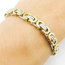 ATGO Men's 316L Stainless Steel Bracelet Wristband Hand Chain For Men Jewelry Fashion Byzantine Biker Bicycle Motorcycle Bangle