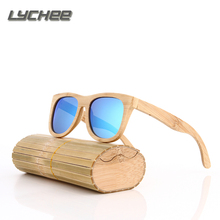 LYCHEE New fashion Products Men Women Glass Bamboo Sunglasses au Retro Vintage Wood Lens Wooden Frame Handmade
