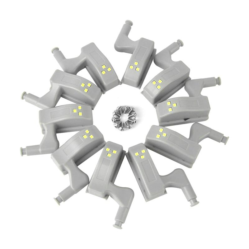 BORUiT 10pcs Universal LED Cabinet Light Motion Sensor Cupboard Inner Hinge Lamp Wardrobe Closet Night Light For Home Kitchen(China)