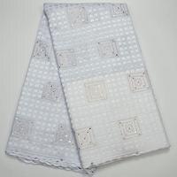 Witte kleur Hoge Kwaliteit Zwitserse Voile Kant 2018 Afrika Voile zwitserse Kant Stof Afrikaanse Katoen Voile Stof Voor Bruiloft jurk