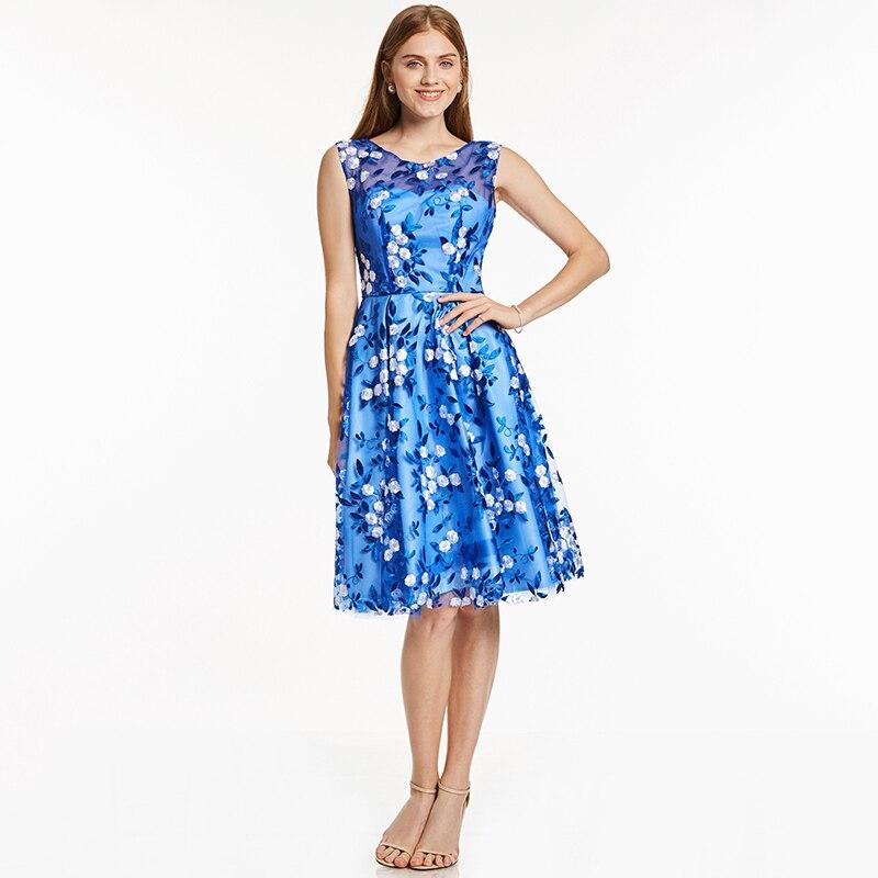 Tanpell kratka kućna haljina kraljevska plava kašičica rukava - Haljina za posebne prigode - Foto 6