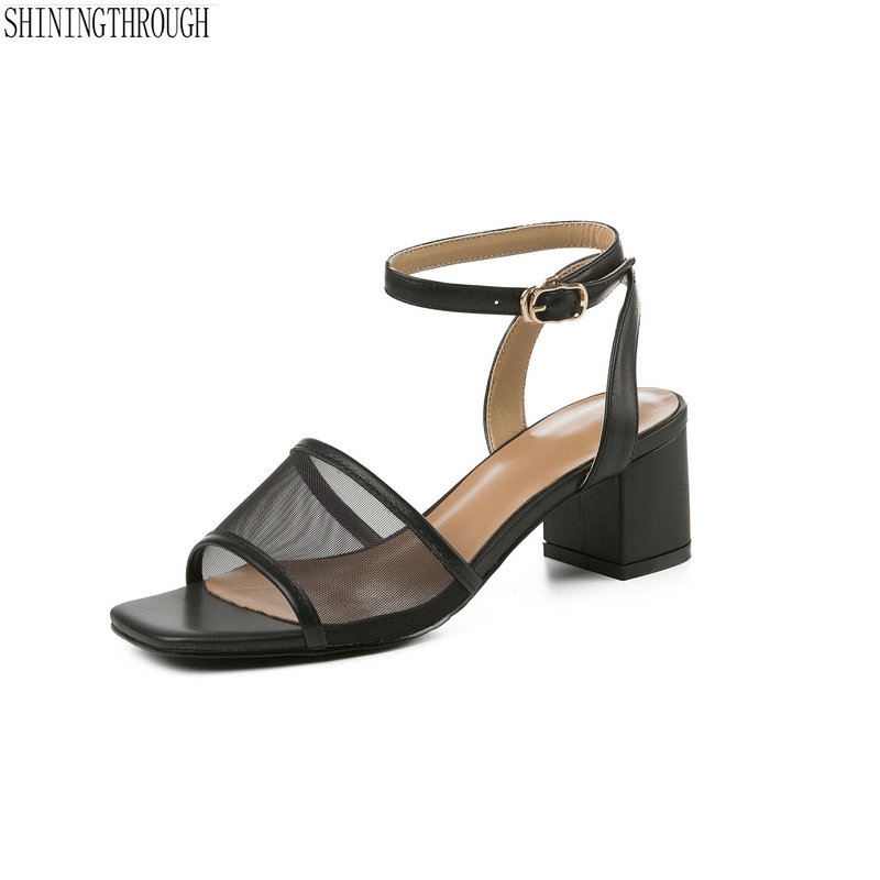 sexy genuine leather women sandals ankle strap high heels summer shoes party dress shoes woman size