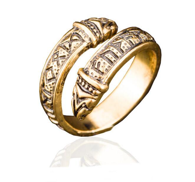 1 Pc Vintage Adjustable Norse Viking Celtic Rune Dragon Ring Elder Futhark Snake Ring For Men