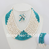 2014 New Fashion 8 Strands Freshwater Pearls Jewelry Set Wedding Jewelry Set Bridal Jewelry Set Free