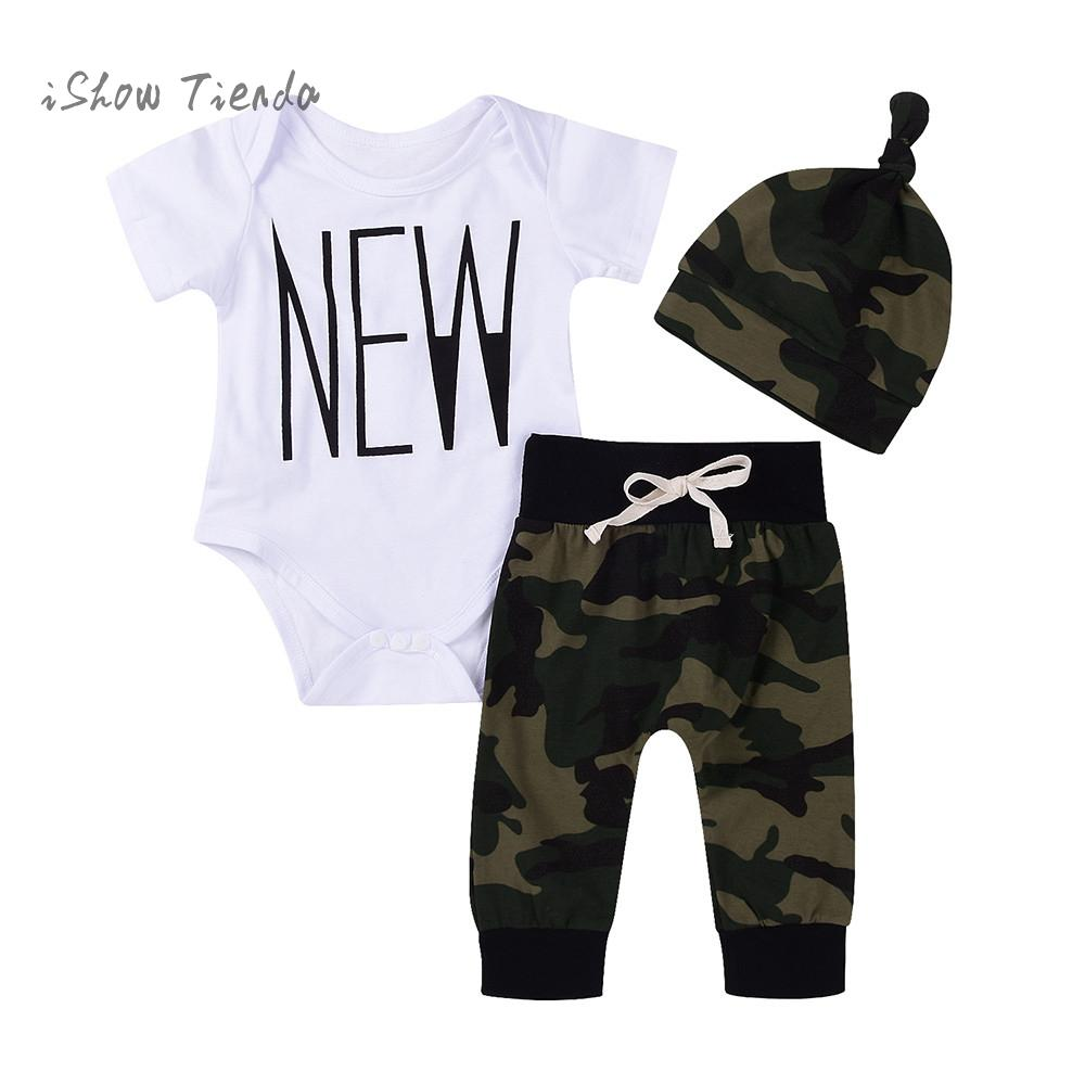 ISHOWTIENDA 2018 Summer Children kit for newborn Clothes Sets Kids 3pcs T-Shirt baby girl outfit Suits Camouflage Romper Top