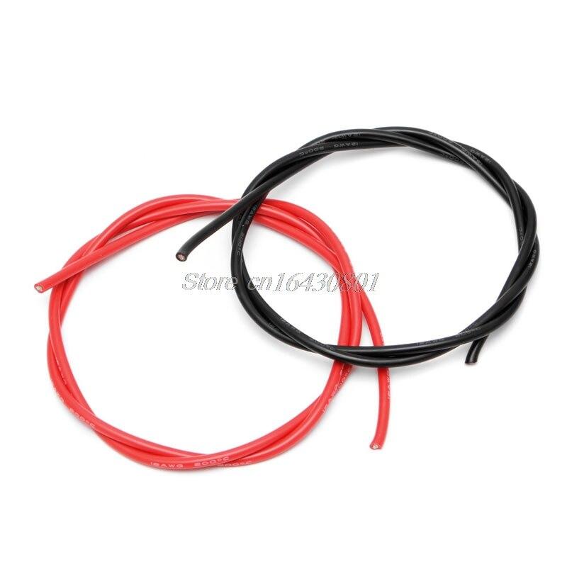12AWG Jauge De Silicone Flexible Fil Brin V # Cuivre Câbles 5 m Pour RC Noir Rouge S08 Drop ship