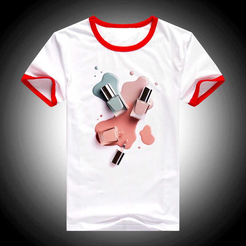 2019 קיץ למעלה נקבה קוריאני בגדי נשים אופנה צבעי מים לק מודפס חולצת טי femme camiseta mujer tumblr t חולצה